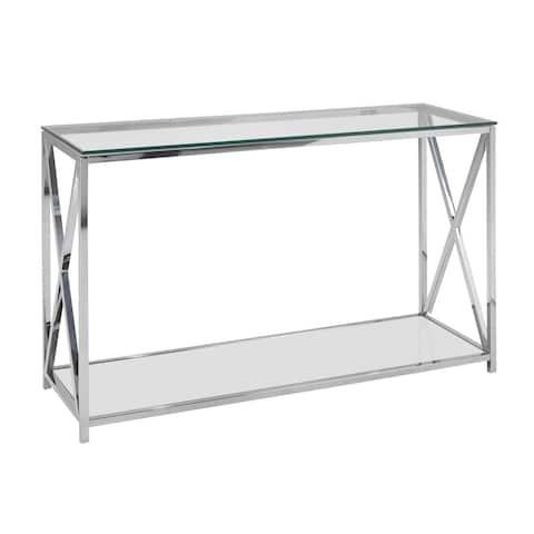 Ellen Contemporary Glass Top Metal Rectangle Console Table