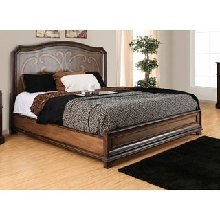 Furniture of America Palms Wooden Laser Cut Warm Chestnut Panel Bed