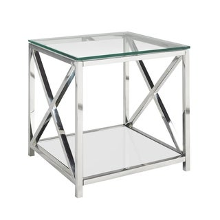 Ellen Contemporary Metal and Glass Square End Table