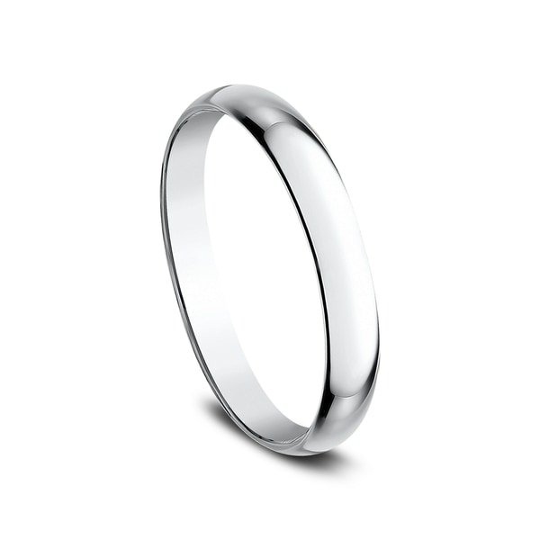 Mens 14K White Gold 2.5mm Traditional Dome Oval Wedding Band Ring