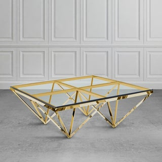 Zest Glass and Metal Square Coffee Table