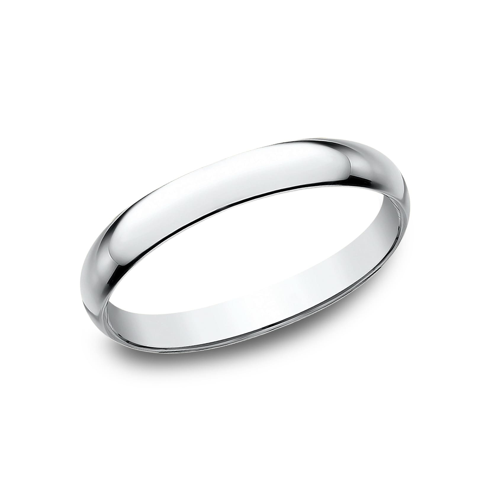 14K White Gold 2.5mm Slightly Domed Standard Comfort-Fit Wedding Band Ring for Men /& Women Size 4 to 15