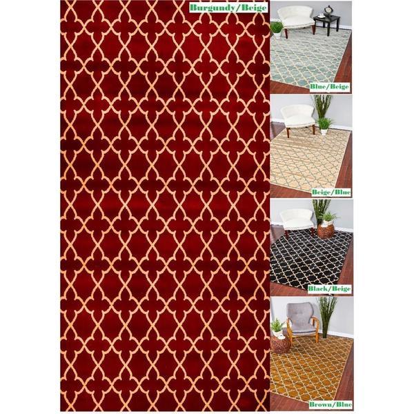 Persian Rugs Zara Collection Moroccan Trellis Polypropylene Area Rug (7'8 x 10'2) - 7'8 x 10'2