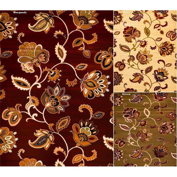 Floral Contemporary Polypropylene Area Rug (7'8 x 10'2)