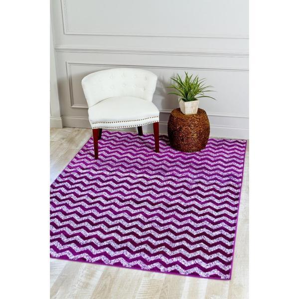 "Purple/White Zig-zag Area Rug - 7'10"" x 10'6"""