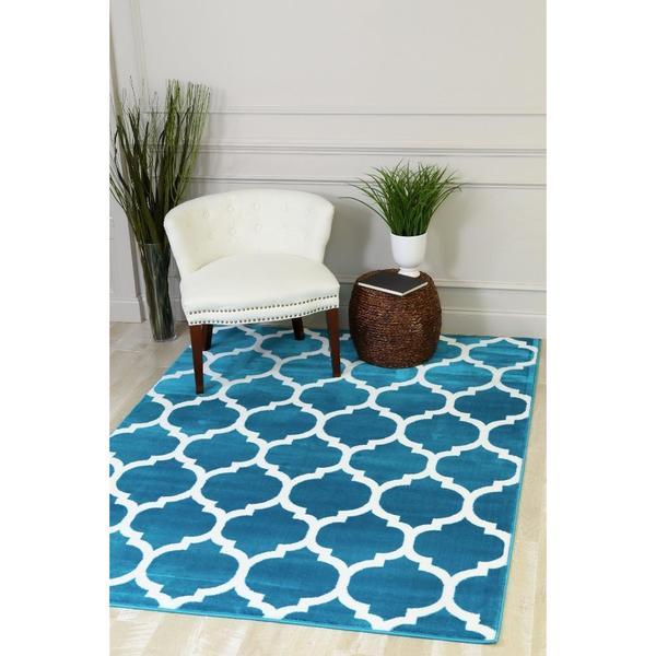 "Persian Rugs Moroccan Trellis Design Turquoise Area Rug - 7'10"" x 10'6"""