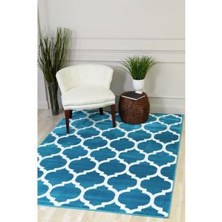 Moroccan-style Trellis Turquoise Polypropylene Area Rug - 5'2 x 7'2