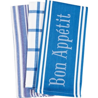 Set of 3 Bon Appetit Blue Kitchen Towels