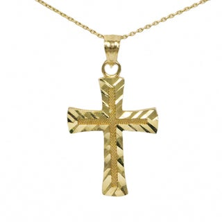 14k Yellow Gold Petite Cross Necklace