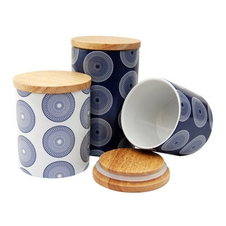 Le Chef Ceramic Storge Canisters, Navy/White (Set of 3)