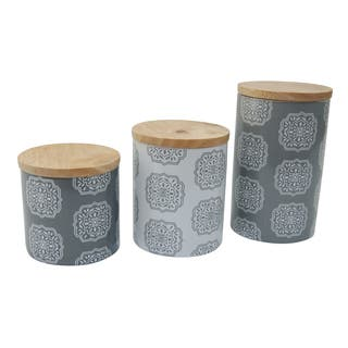 Le Chef Ceramic Storage Canisters in Grey and White (Set of 3)|https://ak1.ostkcdn.com/images/products/14220681/P20813119.jpg?impolicy=medium