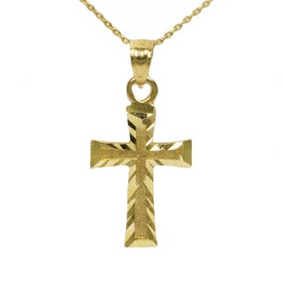 14k Yellow Gold Delicate Cross Necklace