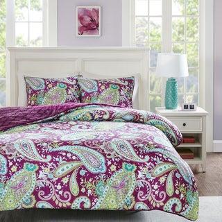 intelligent design kayla printed reversible 3piece comforter set - Purple Comforters