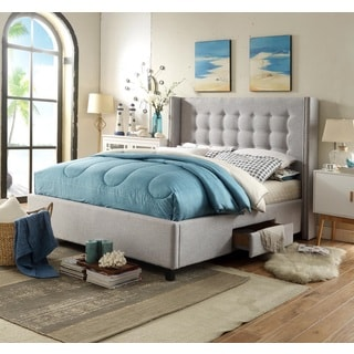 Chic Home Charles Linen Tufted with Nailhead Trim Platform Storage Bed, Light Grey