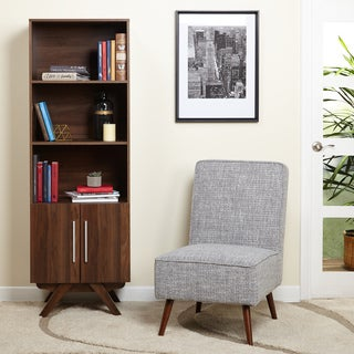 simple living ashfield midcentury walnut finish bookcase