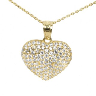 14k Yellow Gold CZ Pave Heart Necklace