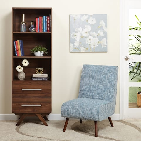 Simple Living Ashfield Mid Century Walnut finish Bookshelf Tower with Two (2) drawers