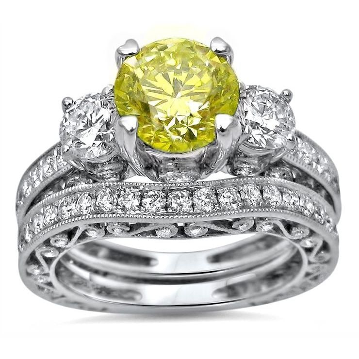 dbb7d287b5 Noori 18k White Gold 2 1/2ct Canary Yellow Round Diamond Engagement Ring  Bridal