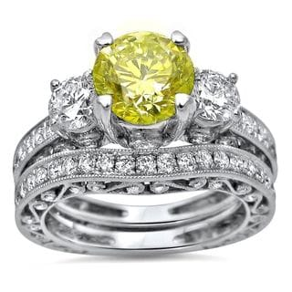 Noori 18k White Gold 2 1/2ct Canary Yellow Round Diamond Engagement Ring Bridal Set