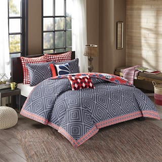 Josie By Natori Diamond Geo Cotton Printed Reversible Duvet Cover