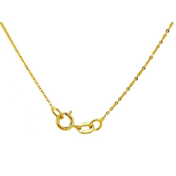 14k Yellow Gold CZ Dangling Sideways Open Double Heart Pendant Figaro Necklace