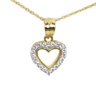 14k Yellow Gold CZ Petite Heart Necklace