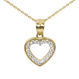 14k Yellow Gold and Cubic Zirconia Petite Heart Necklace