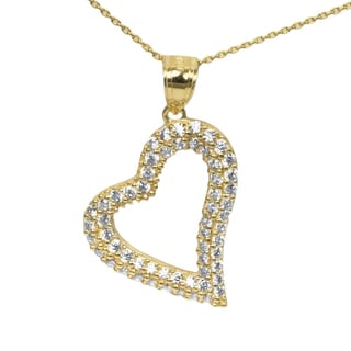 14k Yellow Gold CZ Heart Necklace