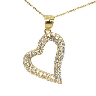 14k Yellow Gold Large CZ Heart Necklace (3 options available)