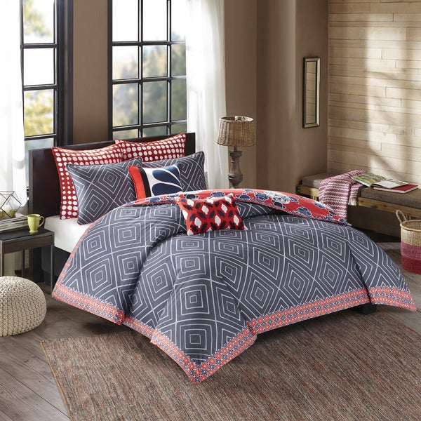 Josie by Natori Diamond Geo Cotton Reversible Printed Comforter Mini Set