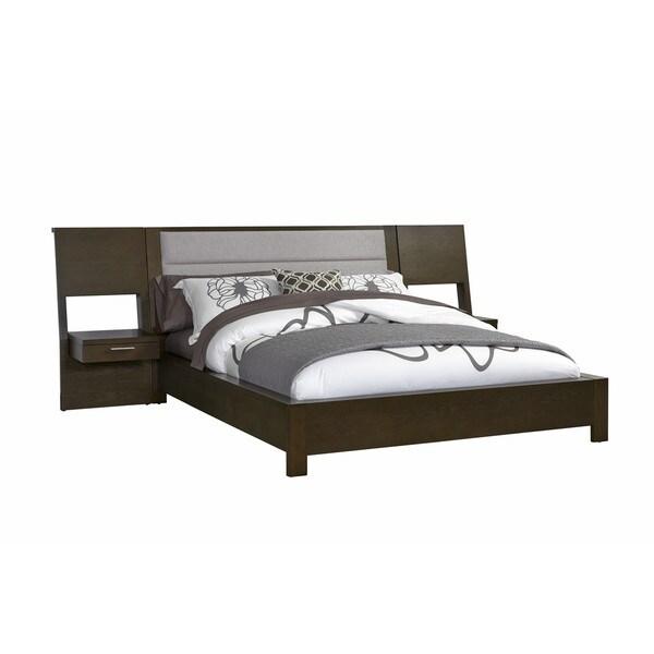 platform bed with nightstand. Hudson Grey Upholstered Platform Bed With Built-in Nightstands Nightstand