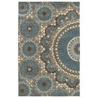Hand-Tufted Lola Mosaic Teal Wool Rug - 8' x 11'