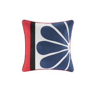Josie by Natori Diamond Geo Multi Cotton Square Pillow with Embroidery