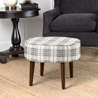 HomePop Mid Mod Oval Stool Wood Legs in Black and White Plaid