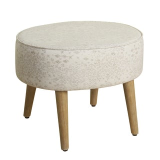 HomePop Mid Mod Oval Stool Wood Legs in Tan Grey