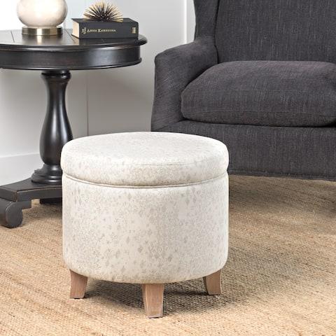 Carson Carrington Harv Round Storage Ottoman Flared Wood Leg in Grey and Natural