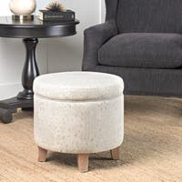 Porch & Den McMichael Round Storage Ottoman Flared Wood Leg in Grey and Natural