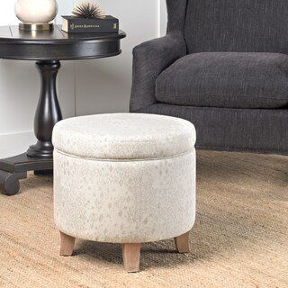 HomePop Cole Classics Round Storage Ottoman Flared Wood Leg in Grey and Natural