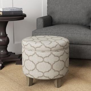 HomePop Cole Classics Round Storage Ottoman Flared Wood Leg Grey Textured