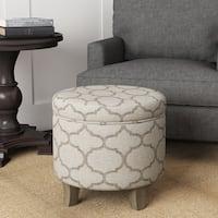 Palm Canyon Palmas Grey Textured Round Storage Ottoman