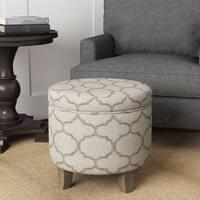 Carson Carrington Hnifsdalur Round Storage Ottoman Flared Wood Leg Grey Textured