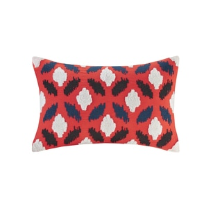 Josie by Natori Diamond Geo Multi Cotton Oblong Pillow with Embroidery