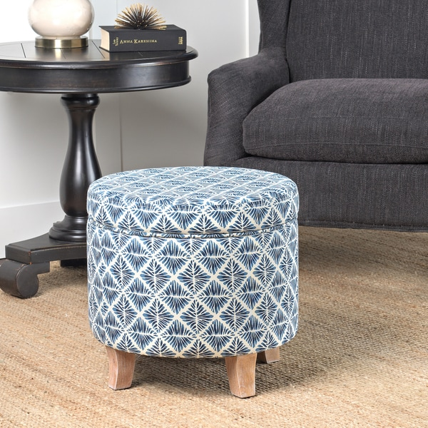 Homepop Cole Classics Round Storage Ottoman Flared Wood