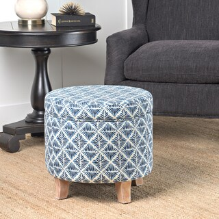 HomePop Cole Classics Round Storage Ottoman Flared Wood Leg in Modern Navy and White Geometric