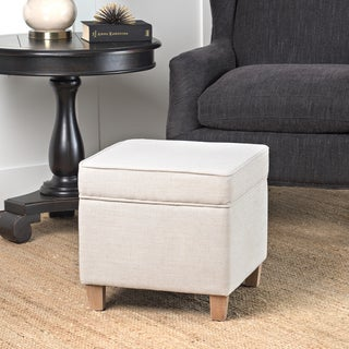 HomePop Cole Classics Square Storage Ottoman Wood Legs Soft Neutral