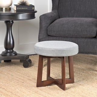 HomePop Mid Mod Upholstered Wood Base Stool Grey Textured