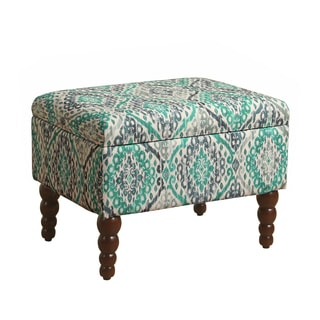HomePop Rectangular Storage Ottoman with Modern Turned Wood Leg in Teal and Grey