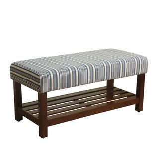 HomePop Upholstered Blue and White Striped Wood Storage Bench