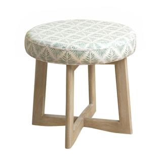 HomePop Mid Mod Upholstered Wood Base Stool Aqua