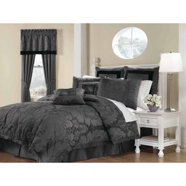 NY Soho Home Lorenzo Grey 8-Piece Queen Comforter Set